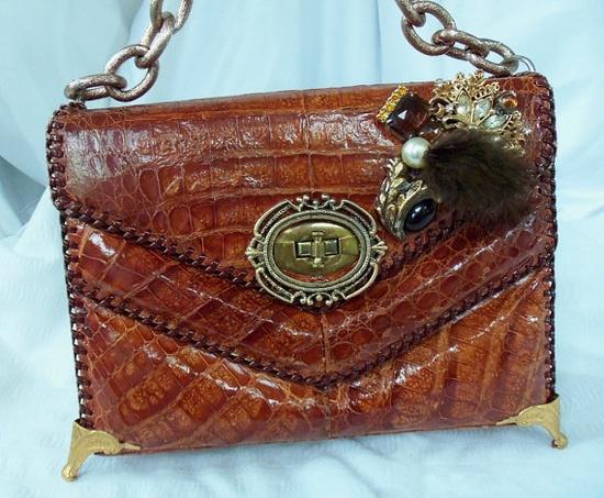 Vintage upcycled alligator purse, vintage jewelry, vintage hardware and brass feet, OOAK, avant-garde