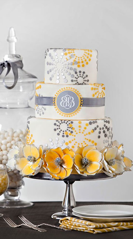gray & yellow wedding cake. #Tanoan #cake #wedding #wedding cake #yellow wedding