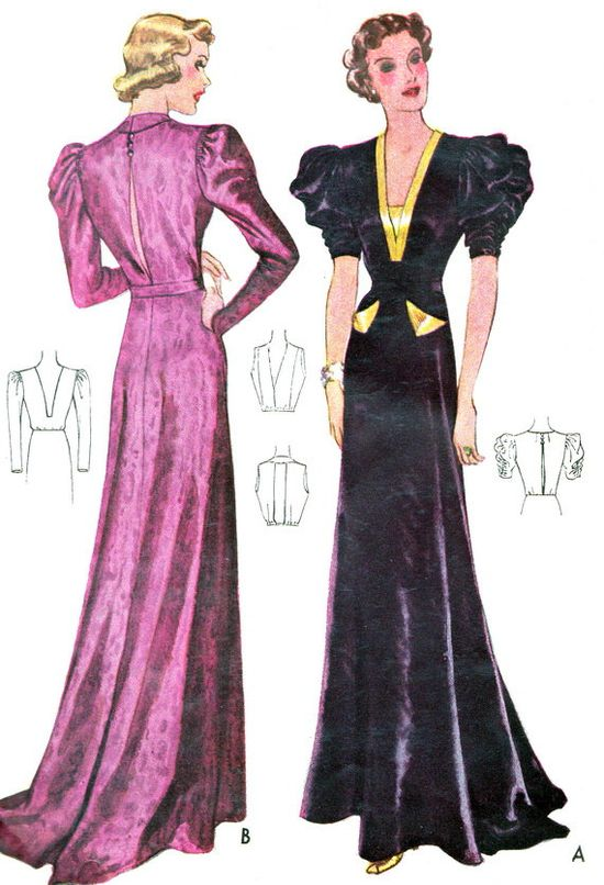 1930s Evening Dress Pattern McCall 9451 Plunging by paneenjerez, $115.00