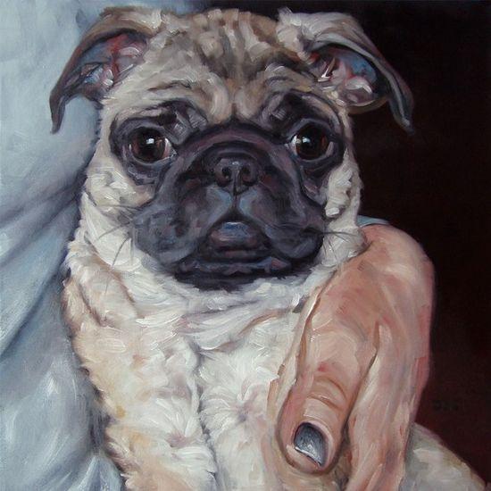 Pug Hugs custom Pet Portrait Oil Painting by by puciPetPortraits, $317.00