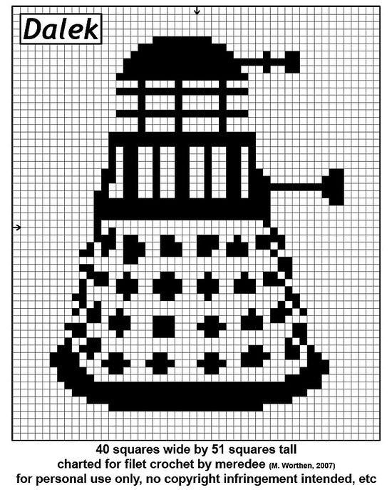 Dalek Cross Stitch Pattern - you can make changes and make it into a crochet pattern