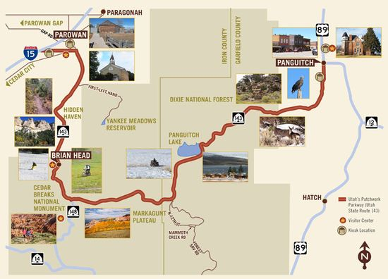 Utah's Patchwork Parkway National Scenic Bway 143, is 55 miles for four key communities with recreational activities. The byway name come from a historic event, where early pioneers saved themselves from starvation by using quilts to cross the snows of the plateau.