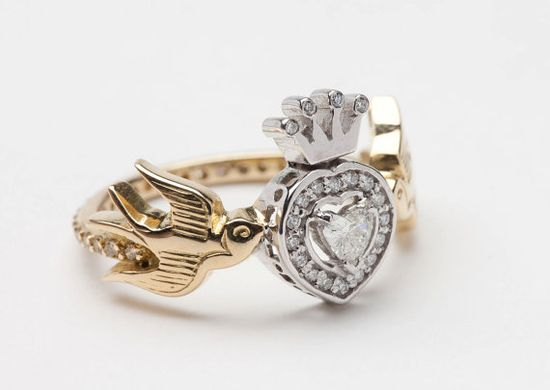 Swallows Heart and Crown Diamond Ring #wedding #engagement
