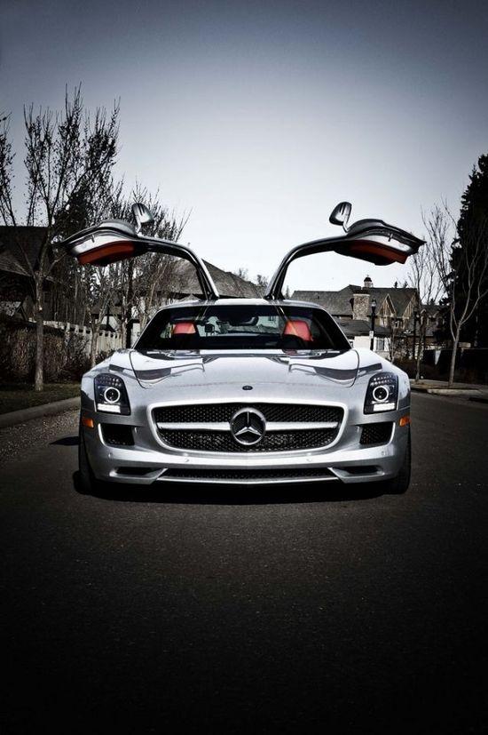 ? Silver car Mercedes SLS AMG