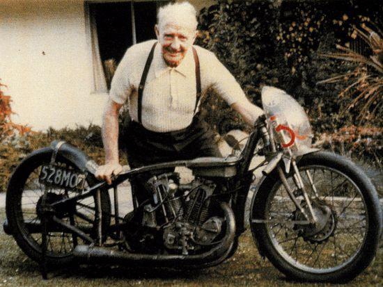 Burt and his beloved Indian motorbike
