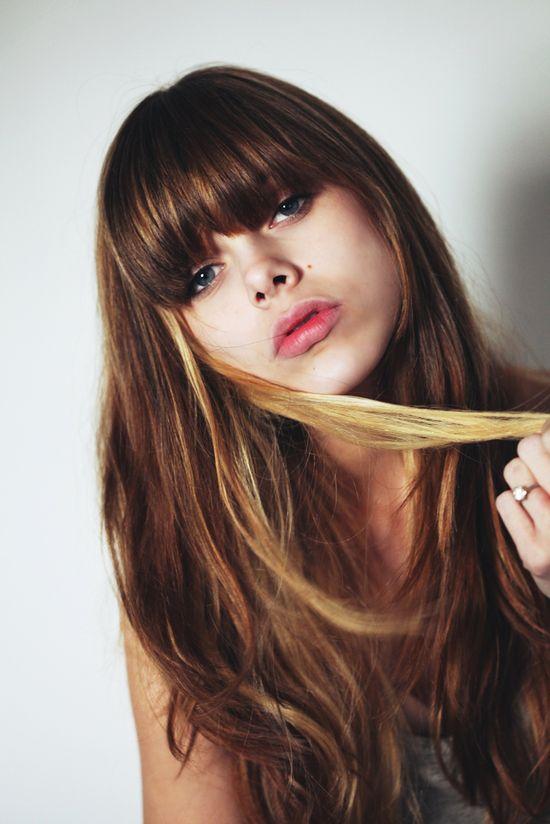 long brunette with blonde streaks and cute bangs