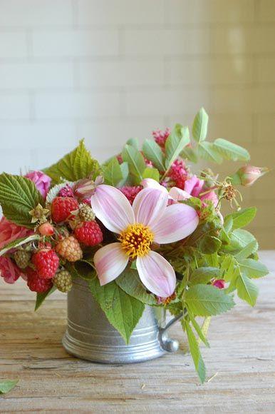 raspberry floral arrangement