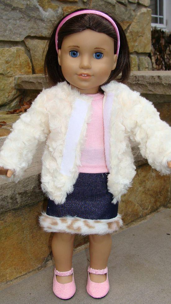 American Girl Doll 18 inch Cream Furry Jacket or by SweetPeaKidz,