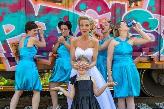 "Our version of the ""Don't corrupt the flower girl"" wedding photo. funny wedding photos. bridal party"