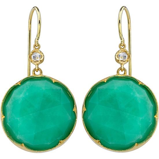 Chrysoprase and rose cut diamond earrings by Irene Neuwirth
