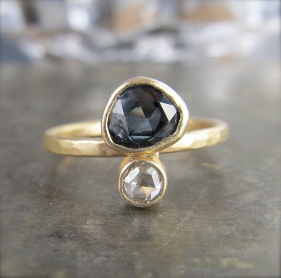 One of a Kind Rose Cut Sapphire and Diamond Recycled 14k Gold Ring
