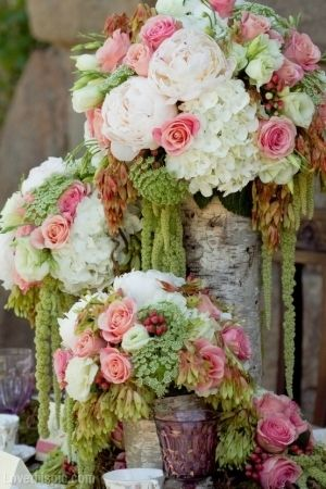 Stunning Summer Flower Arrangements photography wedding pink flowers roses white table hydrangea peony