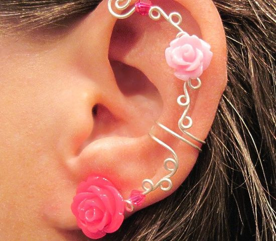 """Cartilage Ear Cuff  No Piercing Wedding Prom Quinceanera """"Roses are Pink"""" #earcuff #new #love #fashion #fb #piercing #wedding #arianrhodwolfchild #jewelry #summer #bridal #prom #quinceanera #nopiercing"""