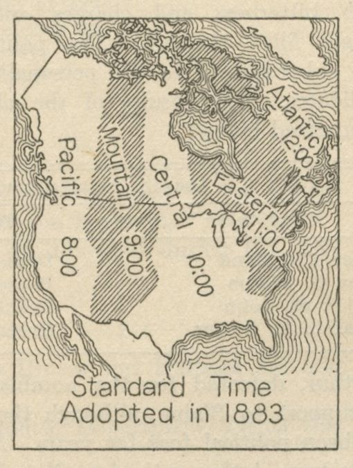 Map of the North American time zones when standard time was first adopted in 1883