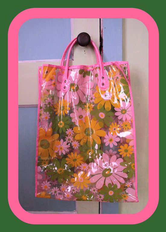 Plastic floral tote... Our 70's book bag.