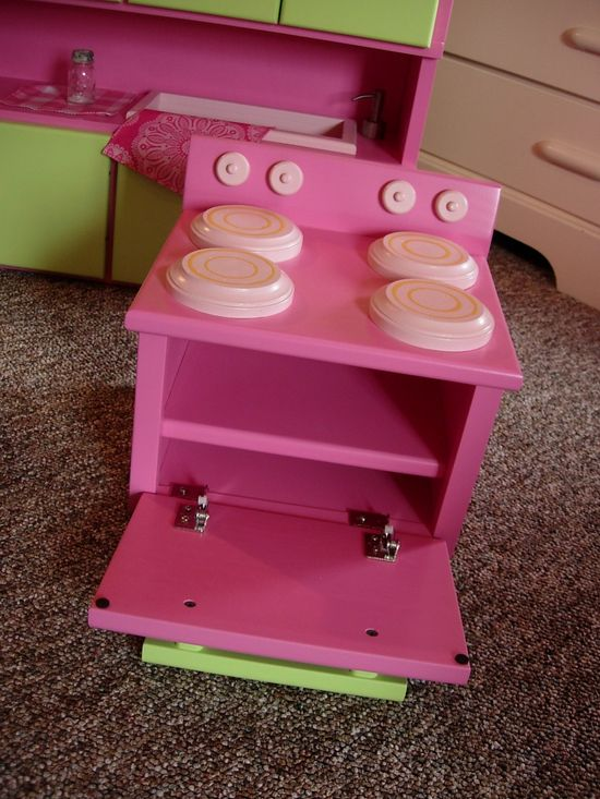 Kitchen Furniture Set for American Girl Doll or 18-inch Doll. $435.00, via Etsy.