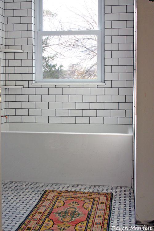 White subway tile dark grout, basketweave marble