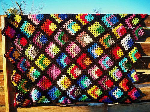 cornered granny squares #crochet #granny_square #afghan #blanket #throw