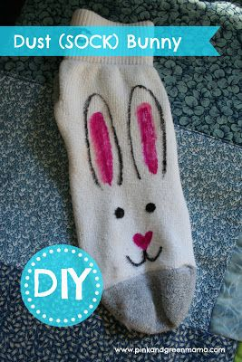 DIY Dust Bunny - get little ones to help clean the house! (sharpie on sock)