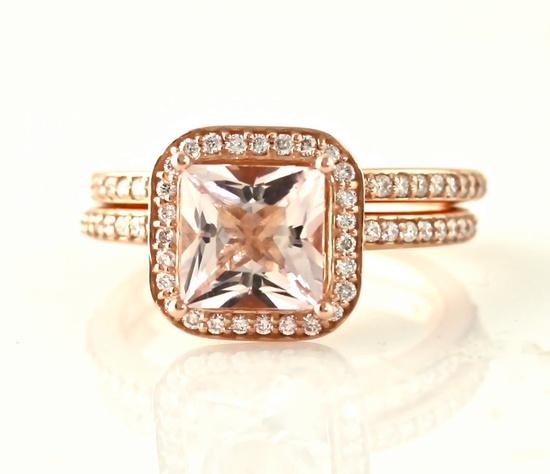 14K Rose Gold Morganite Wedding Set Engagement Ring & Wedding Band Princess Diamond Halo Morganite Ring Custom Bridal Jewelry. $1,545.00, via Etsy.
