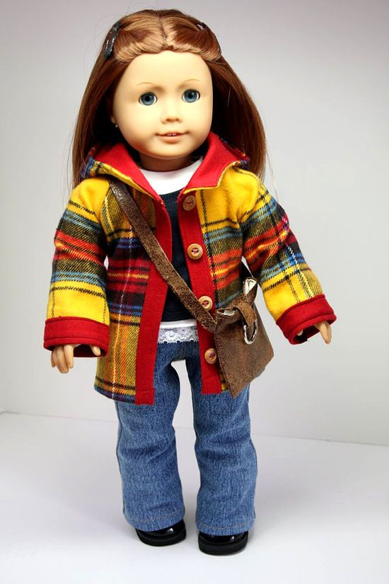 American Girl Doll Clothes-Hooded Jacket, Shirt, Tank, Bootcut Jeans and Purse.