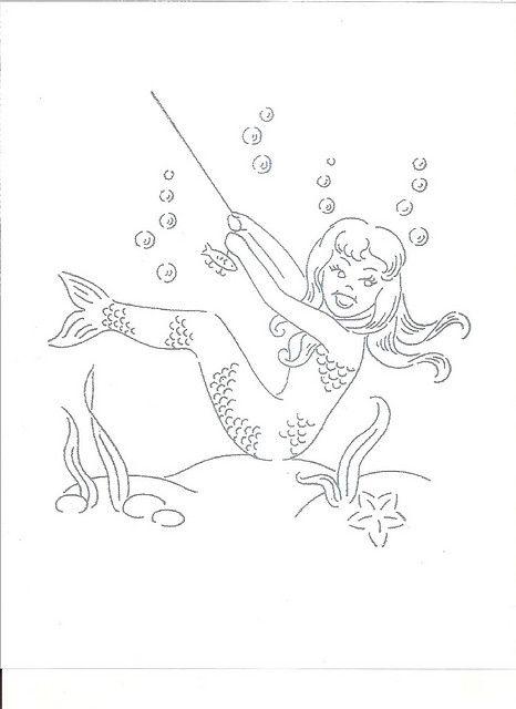 Mermaid Pin Ups Vintage Embroidery Pattern