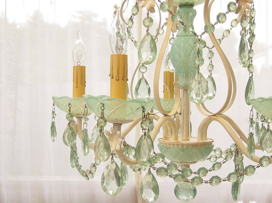 Mint green crystal chandelier