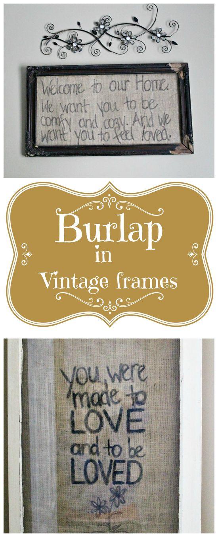 Framed #Burlap art and fresh decorating guest bedroom ideas.