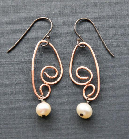 Spiral Earrings Copper Swirl Wire Jewelry Angel by GueGueCreations