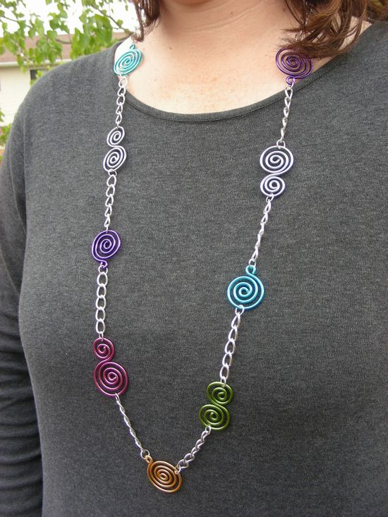 Swirly Chain Necklace - Choose Your Own Colors. $22.00, via Etsy.