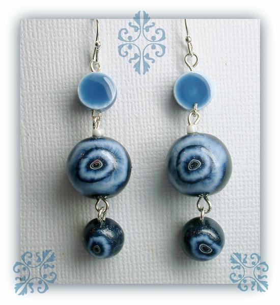 Denim Blue Eyes Dangle Earrings, polymer clay jewelry. $10.00, via Etsy.
