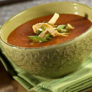 Tortilla Soup ~ It takes less than one hour to make this vibrant soup that gets its flavor from Southwest favorites like chipotle pepper, cilantro, avocado and lime juice.
