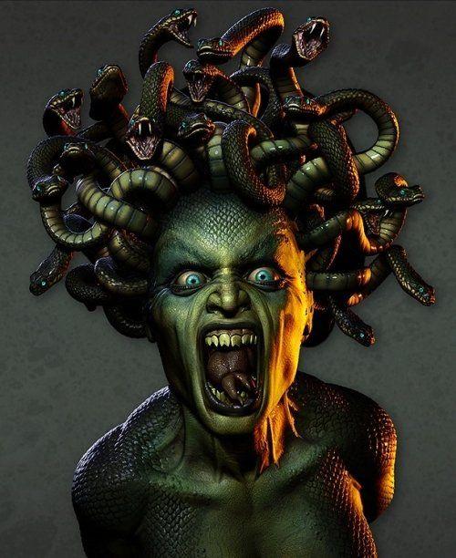 Medusa bust,  3D art rendered by Chris Moffitt