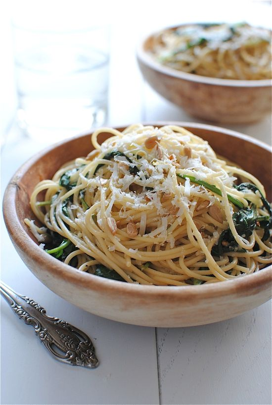 Spaghetti with Kale and Lemon / Bev Cooks