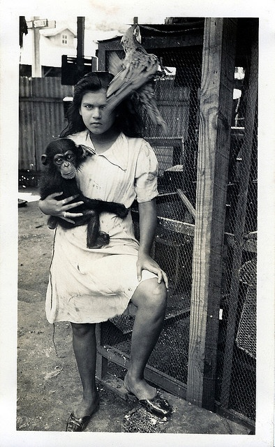 Trinidadian Girl With a Pet Monkey