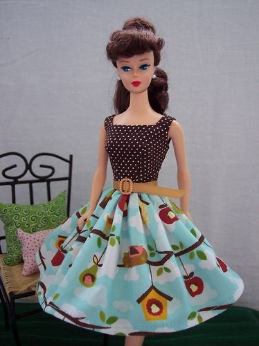 Handmade Vintage Barbie Doll Clothes by Brenda Bird House Dress