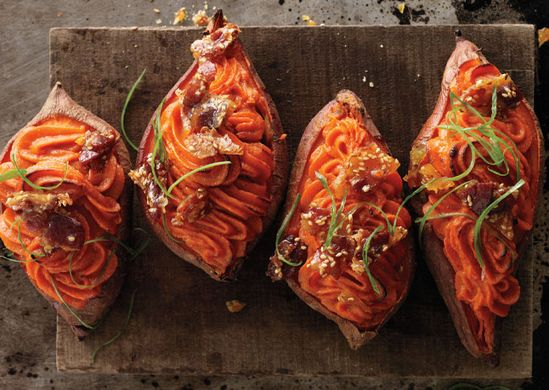 Twice-Baked Sweet Potatoes with Bacon-Sesame Brittle  Serve these sweet and savory potatoes as a side dish for pork or duck, or as a main course with a salad on the side.