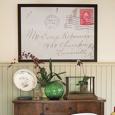 Decorating with family heirlooms. I love the postcard enlargement idea!