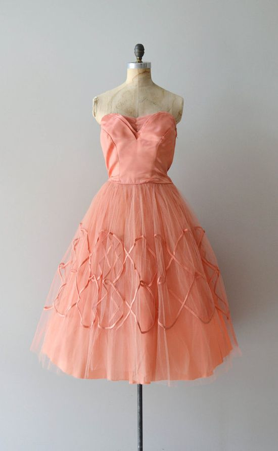 1950s salmon strapless party dress