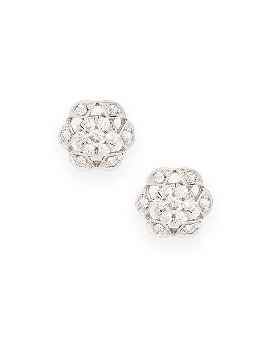 Diamond Flower Earrings.