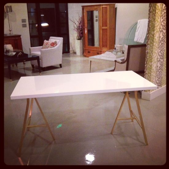 Desk. $55 ikea hack (spray painted legs with metallic gold rustoleum)
