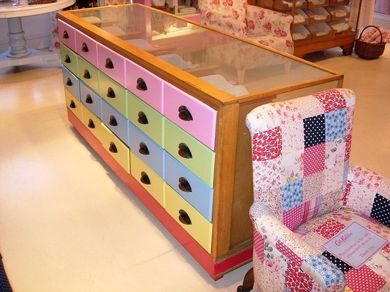 colourful chest of drawers.