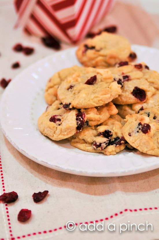 Cherry White Chocolate Chip Cookies from @addapinch