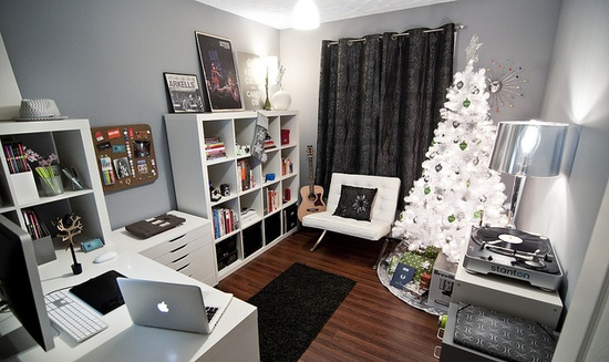 Adore this home office in a small space.  I spy expedits!