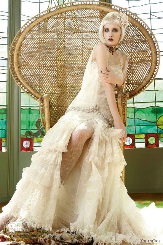 Yolan Cris wedding dress 2013 Grecia cream lace gown straps