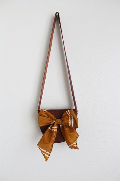 Chestnut Brown Leather Messenger Bag with Mustard Bow