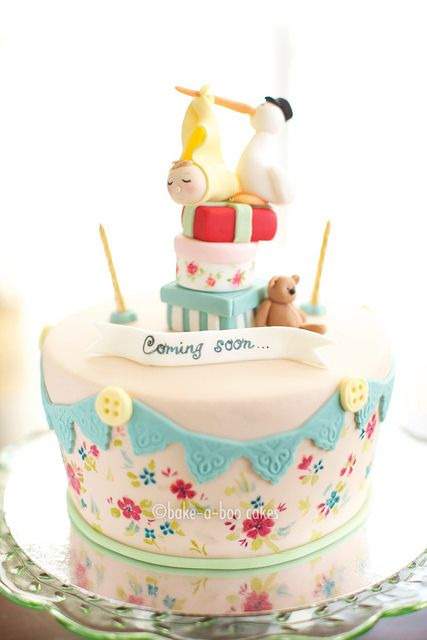 Stork and Baby Birthday Cake by Bake-a-boo Cakes NZ, via Flickr