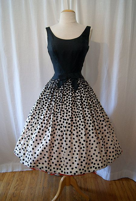 Vintage 1950's Silk Abstract Polka Dot Dress