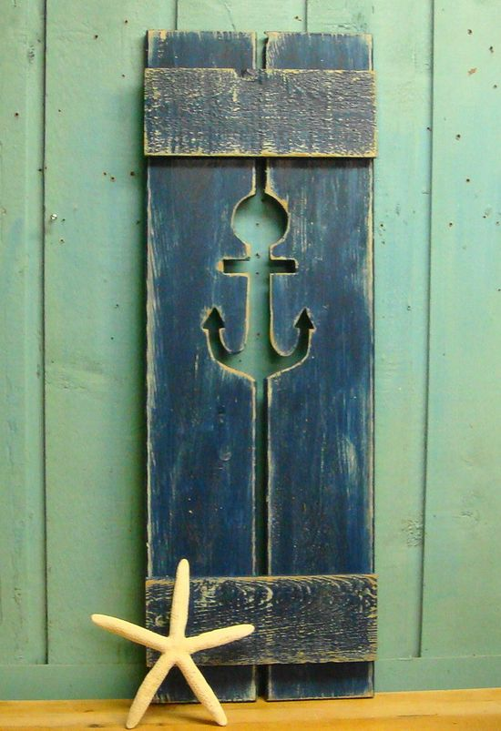 Blue Nautical Weathered Anchor Cut Out Wood Beach House Shutter