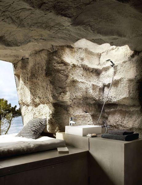 Incredible indoor/outdoor cave shower!